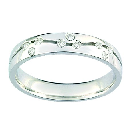 Alliance Diamant en or blanc - JASMIN